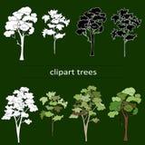 在绿色背景的Clipart黑白树 皇族释放例证