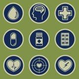 在绿色背景设置的医疗象 库存例证