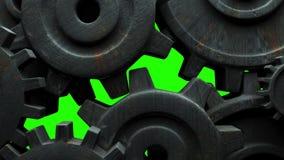 在绿色色度钥匙的生锈的齿轮 影视素材
