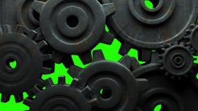 在绿色色度钥匙的生锈的齿轮 股票视频