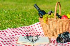 在绿色草坪的对象-野餐,一次浪漫会议 库存照片