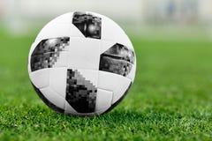 在绿色草坪的足球,脚球 库存照片