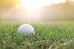 在绿色草坪的高尔夫球在美好的高尔夫球场有太阳上升背景 库存照片