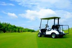 在绿色草坪的高尔夫车 库存图片