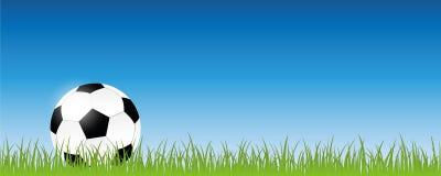 在绿色草甸横幅的橄榄球与拷贝空间 向量例证