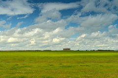 在绿色草甸的农舍 免版税库存照片