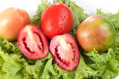 在绿色蔬菜的蕃茄 图库摄影