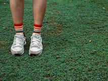 在绿色领域的五颜六色的时髦的袜子 库存照片