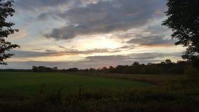 在绿色领域的早日出 免版税库存图片