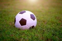 在绿色领域的足球橄榄球在比赛前的体育场内 免版税图库摄影