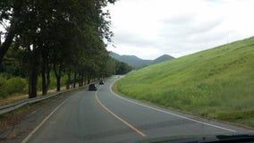 在绿色领域的Bangpra水坝在路 免版税库存照片
