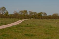 在绿色风景的石渣路在丹麦 库存图片