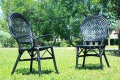 在绿草的两把舒适的椅子 库存照片