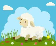 在绿草的小羊羔 也corel凹道例证向量 免版税图库摄影