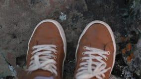 在绿草的新的白色运动鞋有雏菊背景,顶视图 影视素材