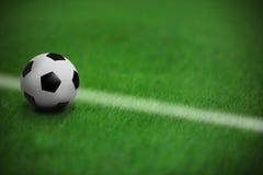 在绿草的足球橄榄球在有wh的体育场内 库存图片
