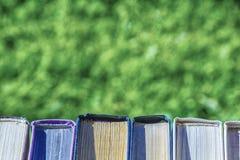 在绿草背景的书  免版税库存照片