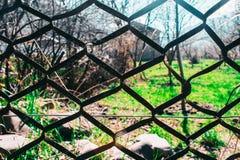 在绿草背景的黑滤网  免版税库存图片