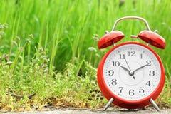 在绿草附近的闹钟,户外 免版税库存图片