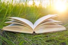 在绿草,太阳的强光的一本开放书 免版税图库摄影