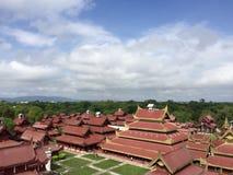 在缅甸宫殿复合体的看法 免版税库存照片