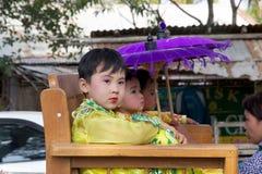 在缅甸的Novitiation仪式 库存图片