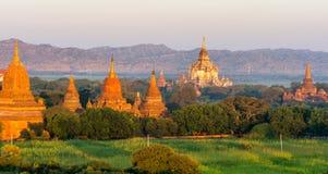 在缅甸2014年11月的Bagan日落 免版税库存照片
