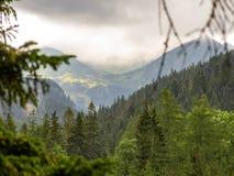 在缆道的看法从Kuznice到Kasprowy Wierch峰顶在Tatras在波兰 免版税库存图片
