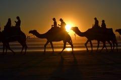 在缆绳海滩,布鲁姆的日落 免版税库存照片