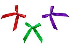 在缎丝带的缎弓。 免版税图库摄影