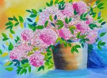 在罐油画的花在帆布 库存图片
