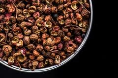 在罐的四川胡椒在黑暗的背景 免版税库存照片