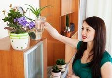 在罐的妇女浇灌的花 免版税库存图片