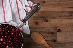 在罐的新鲜的蔓越桔准备好烹调 免版税图库摄影