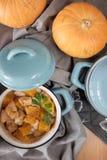 在罐的被烘烤的南瓜 免版税库存图片
