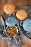 在罐的被烘烤的南瓜 免版税库存照片