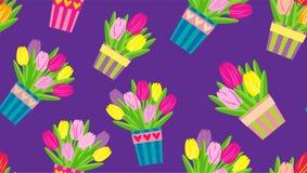 在罐的郁金香在一个紫色背景无缝的传染媒介样式 免版税库存图片