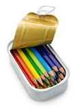 在罐头的铅笔 免版税库存照片