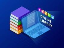 在网上学会或E书图书馆 有图书馆书的便携式计算机 创新教育和技术 向量 库存照片