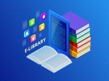 在网上学会或E书图书馆 有图书馆书的便携式计算机 创新教育和技术 向量 图库摄影