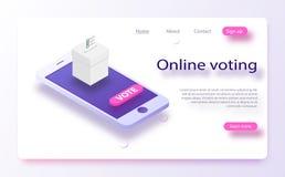 在网上投票平的等量传染媒介的概念, e投票,竞选互联网系统 n 向量例证