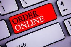 在网上显示命令的文字笔记 陈列购买的企业照片某事在互联网电子商务无线购物 免版税库存照片