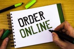 在网上显示命令的文字笔记 陈列购买的企业照片某事在互联网电子商务无线购物 免版税图库摄影