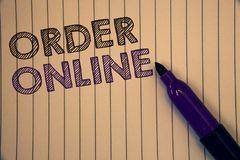 在网上显示命令的概念性手文字 陈列购买的企业照片某事在互联网电子商务无线嘘 免版税库存照片