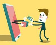 在网上购物与巧妙的电话的商人 免版税库存图片