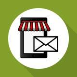 在网上购物和智能手机设计,传染媒介例证,传染媒介例证 免版税库存图片