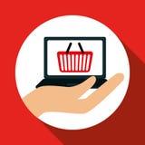 在网上购物和膝上型计算机设计,传染媒介例证,传染媒介例证 免版税库存图片