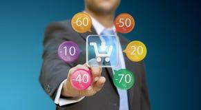 在网上购物的商人 免版税库存照片
