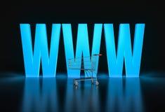 在网上购物的概念 大发光的万维网信件和购物 免版税图库摄影