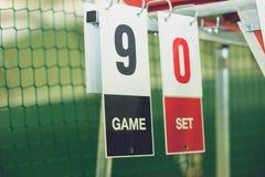 在网球场在室外的比赛期间,特写镜头的记分牌 免版税库存图片